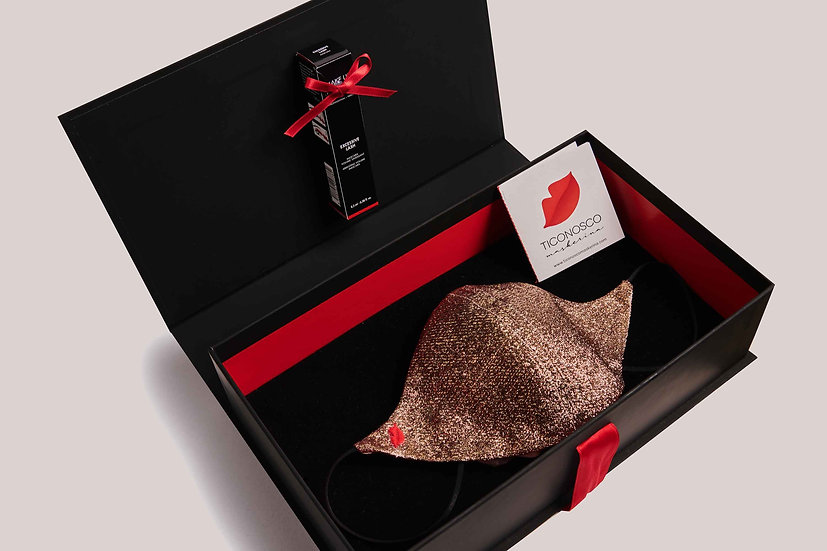 Mascherina Lamé di seta e Mascara Gift Box