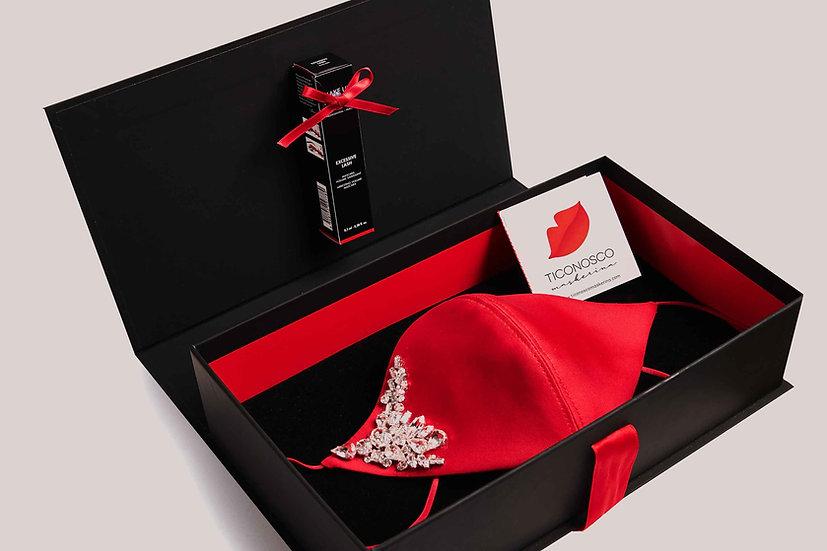 Mascherina di Seta con Swarovski e Mascara Gift Box