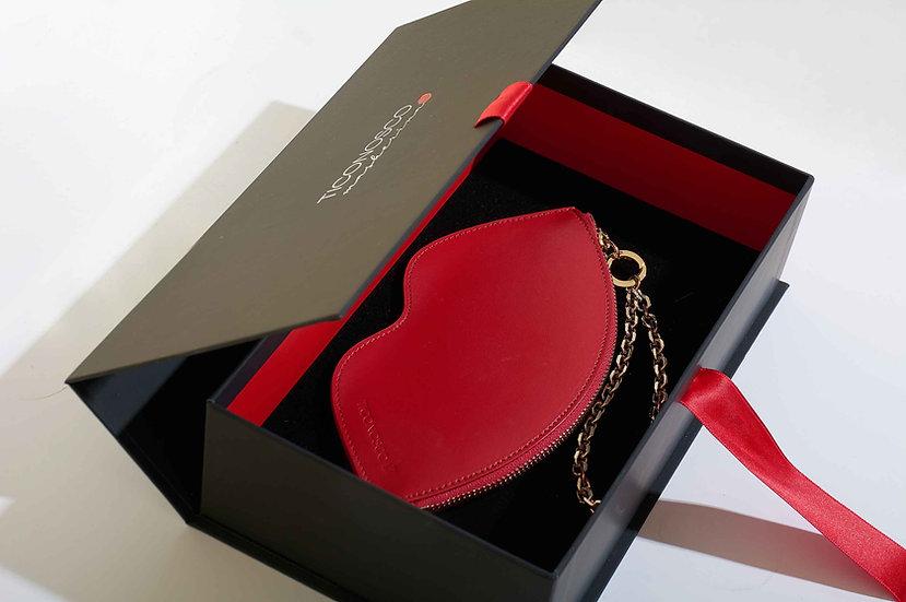 Borsa a mano a forma di sorriso in pelle rossa made in Italy con polsiera gioiello in elegante confezione regalo