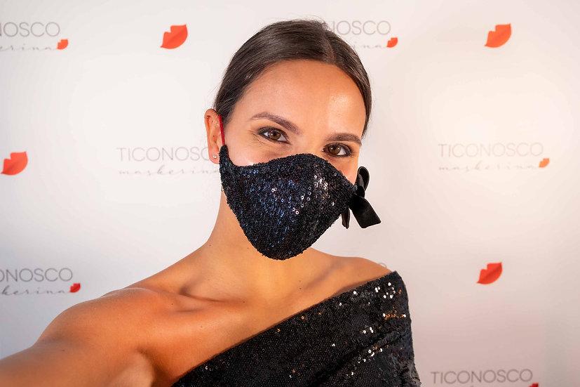 Mascherina da sera elegante in paillettes nere con fiocco di seta, lavabile e riutilizzabile