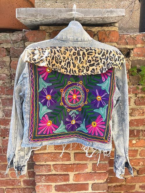 """Blue Pinwheel Leopard"" Denim Jacket"