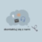 projekt ikonograficzny przedstawiający chmurkę i formy możliwego kontaktu. koperta, słuchawki, adres mailow i znacznik