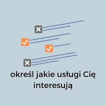 wybór z pakietu usług, znaczniki check i no