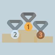 ikona konkursy sprzedażowe z medlami za pierwsze, drugie i trzecie miejsce umieszconymi na podium