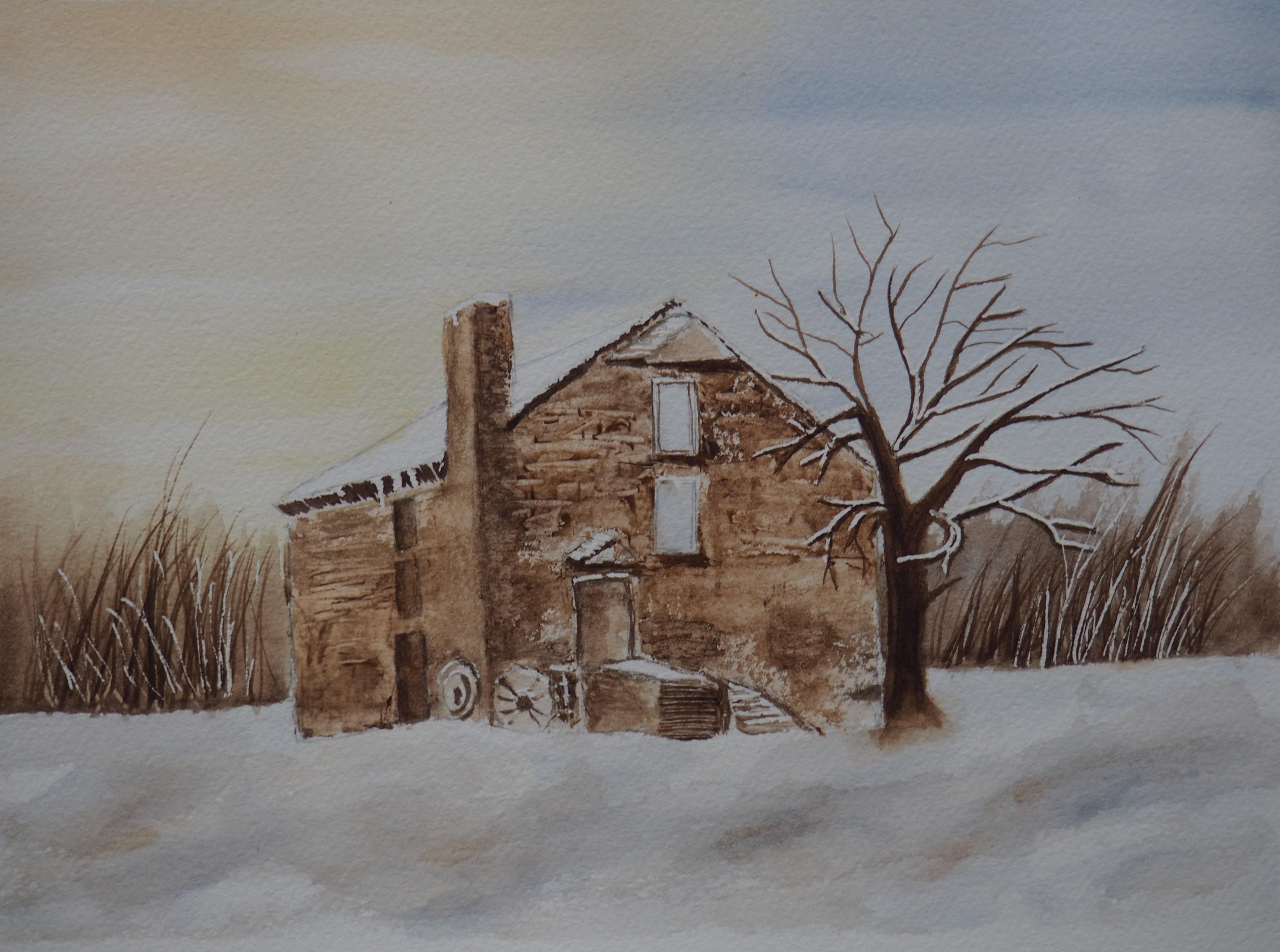 Maison isolée en hiver