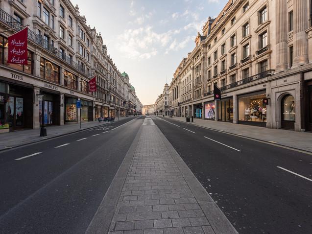 Looking down Regent Street during Lockdown