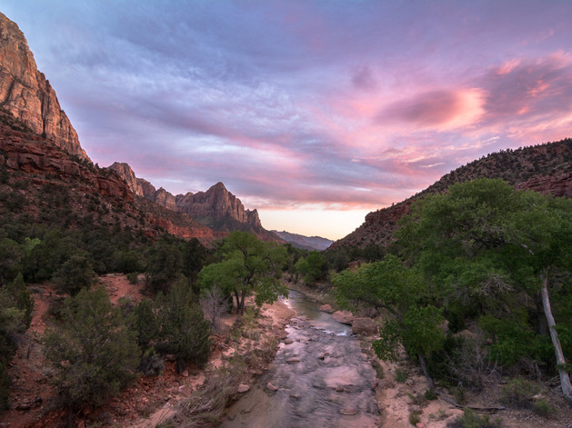 Beautiful sunset in Zion National Park,