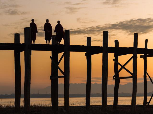 Three monks on U-bein Bridge, Mandalay