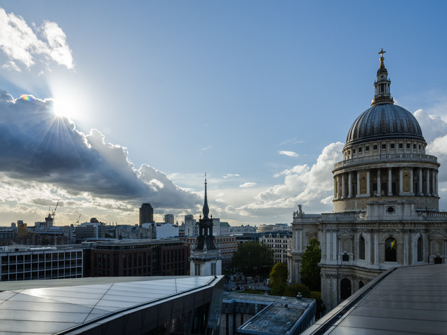 Sunburst over St Paul's Cathedral