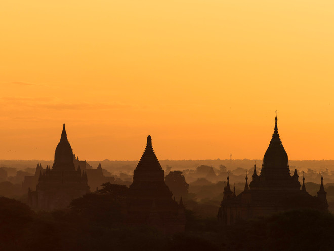 Orange sunset over Bagan Plains, Myanmar