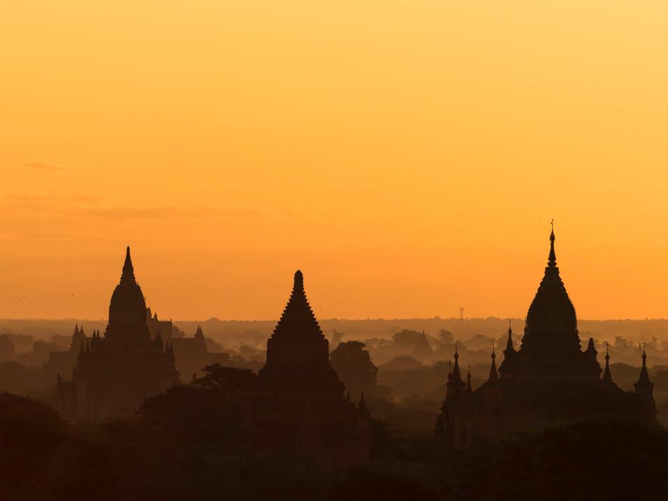 Orange sunset over Bagan Plains, Myanmar
