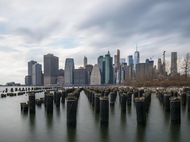 The view to Manhattan from Brooklyn Bridge