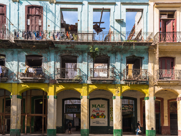 Colourful but dilapidated buildings in Havana