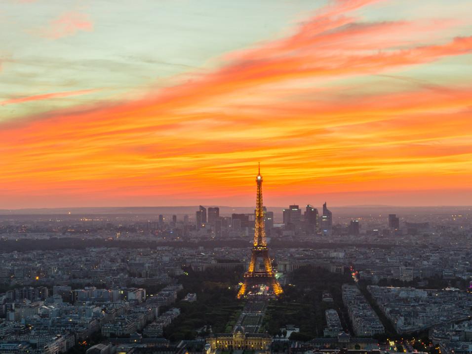 Fiery Parisian sunset