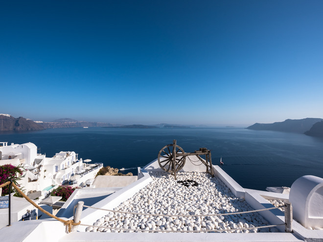 Looking out over the ocean from Santorini