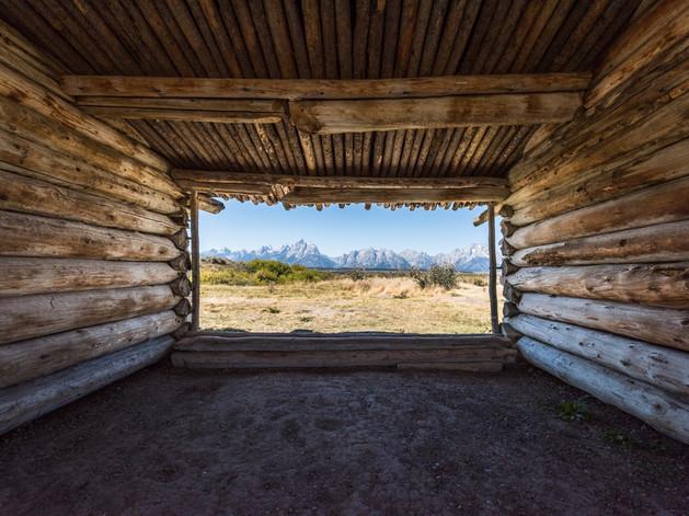 Looking through an old barn at the Teton