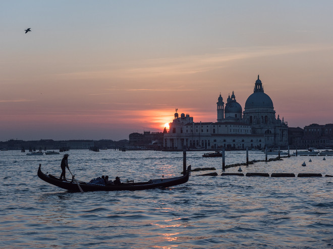 Gondola at sunset, Venice