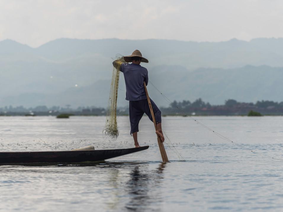 A traditional fisherman of Inle Lake, Myanmar