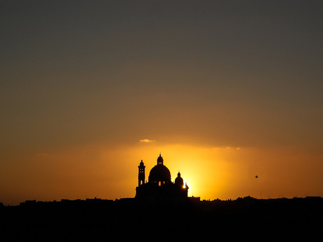 Sunset behind a Maltese mosque