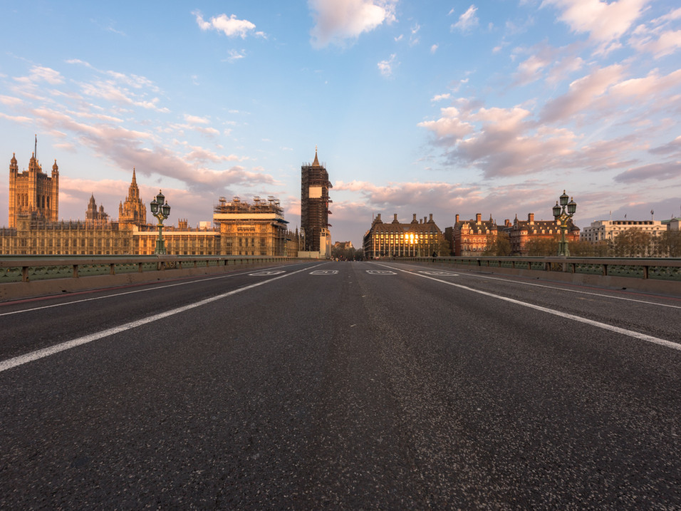 The bridge to Westminster at Lockdown