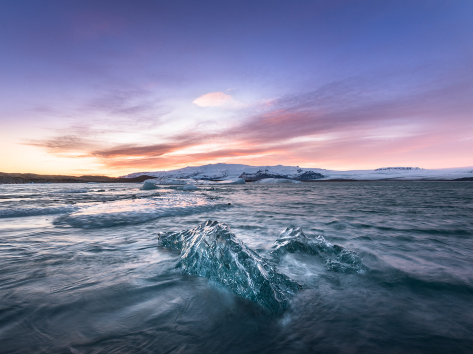 Ice floating in a lagoon in Iceland