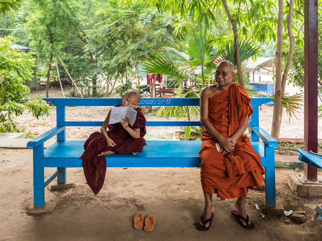 A young and old monk in a Bagan monastery