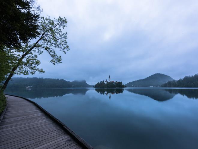 Dawn on Lake Bled, Slovenia