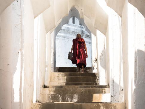 Climbing the stairs of Schwedagon Pagoda