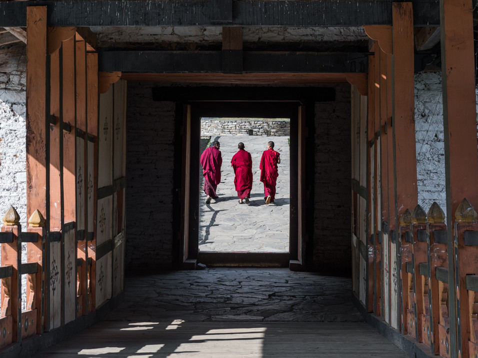 Monks walk to their monastery in Bhutan