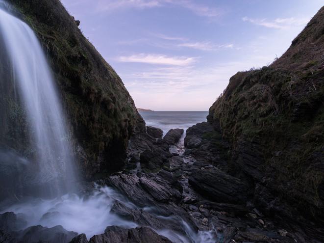 Waterfall on the Devon coastline