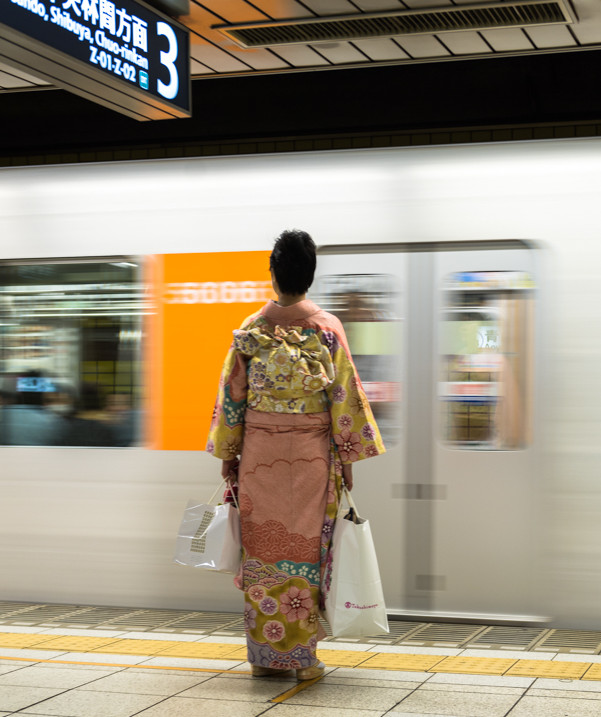 Waiting to board the train, Tokyo