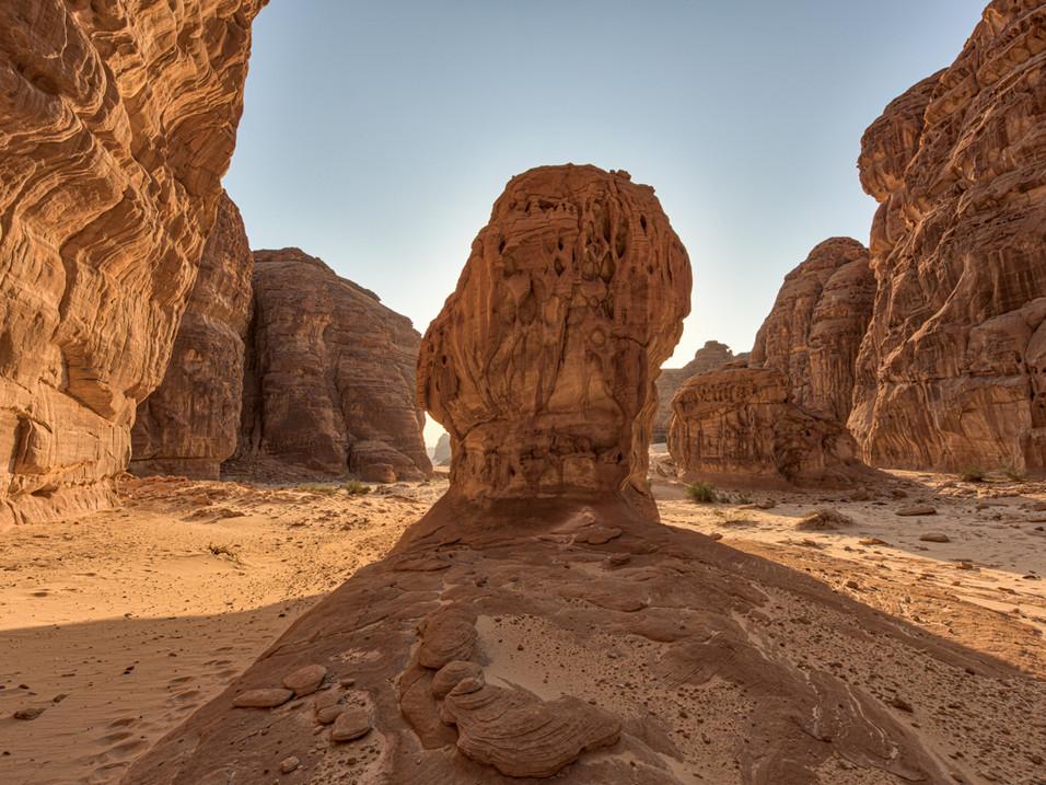 Rock shadows in AlUla, Saudi Arabia