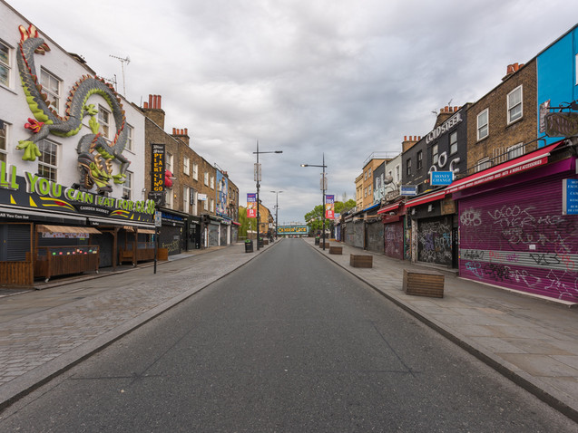 The road to Camden Lock during Lockdown