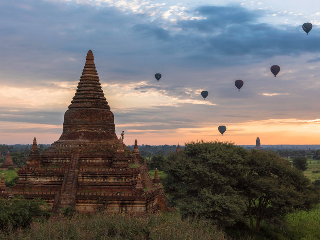 Watching the sunrise in Bagan, Myanmar