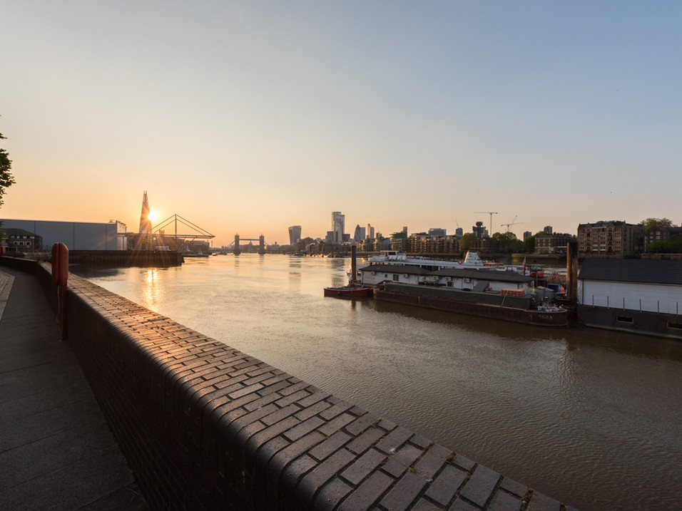The sun sets behind the Shard during Lockdown