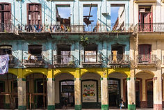 Colourful but dilapidated buildings in H