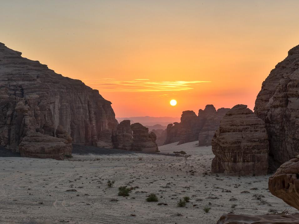 Early morning sun in AlUla, Saudi Arabia