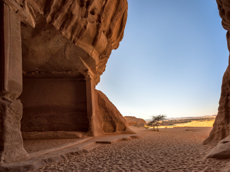 A tomb carved into the rock in Hegra, Saudi Arabia