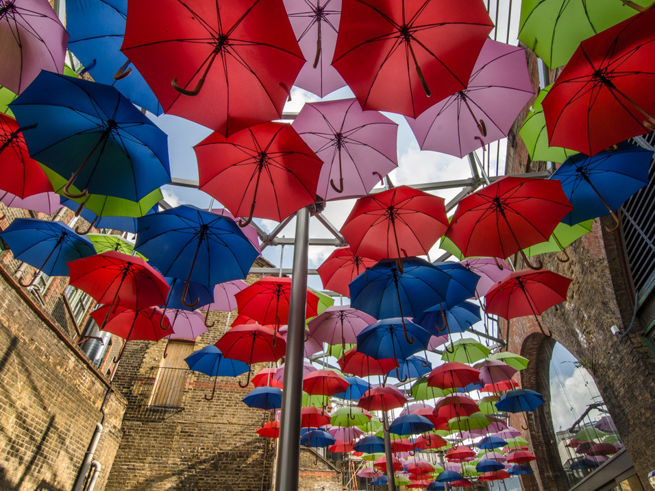 Borough Market umbrella art, London