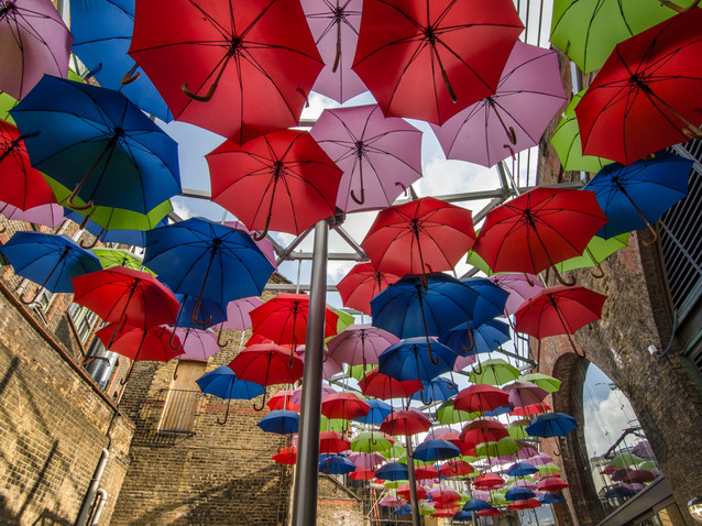 Borough Market umbrella art, London