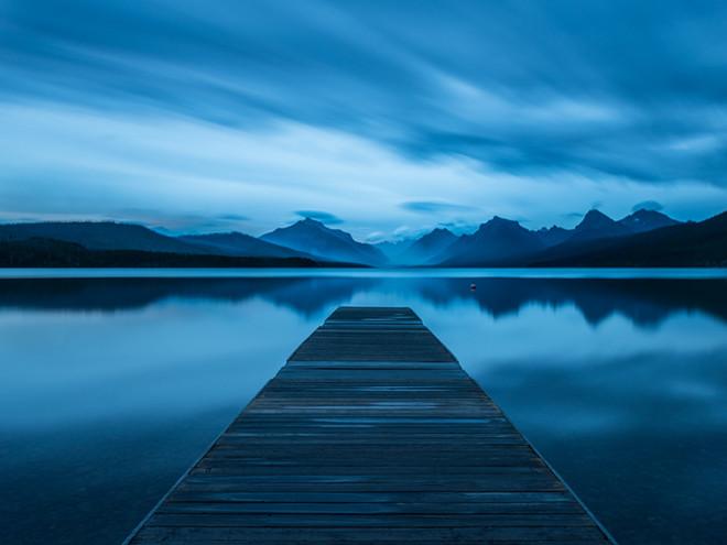 Night falls over Glacier Lake