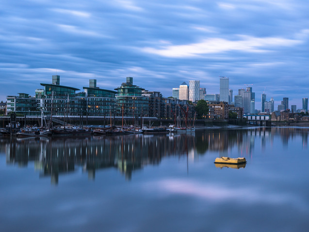 Dusk reflections on the River Thames