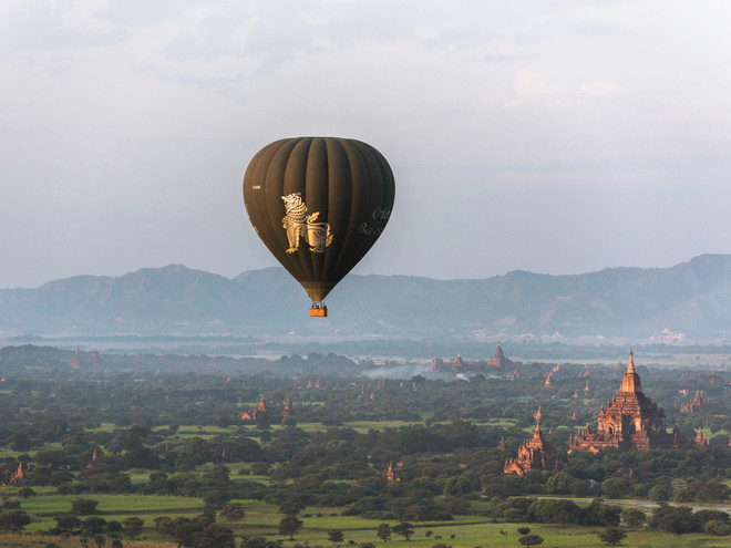 Flying over Bagan Plains, Myanmar