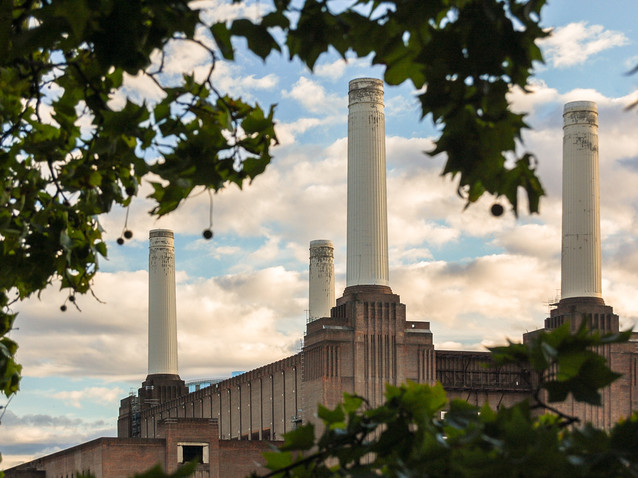 Battersea Power Station through the trees