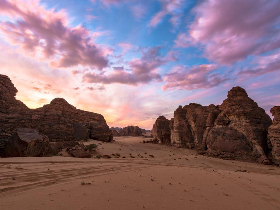 Purple skies over Wadi Al Fann
