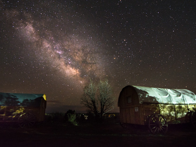 The milky way over horse wagons in Zion
