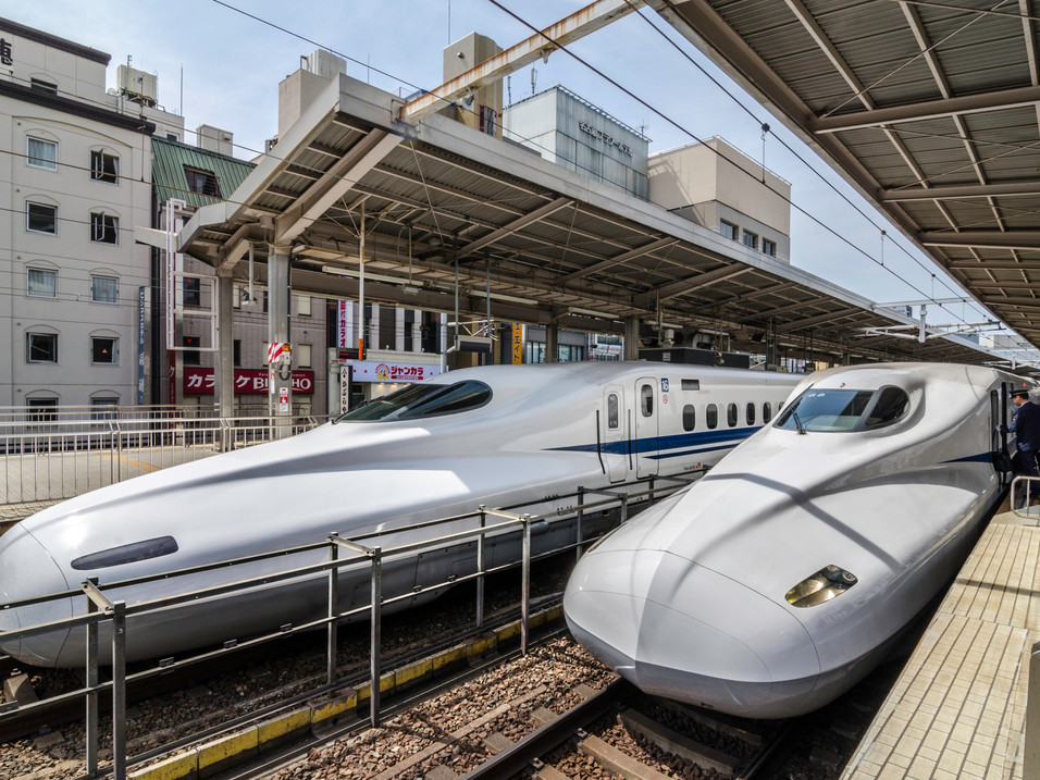 A driver boards the Japanese bullet train in Tokyo, Japan