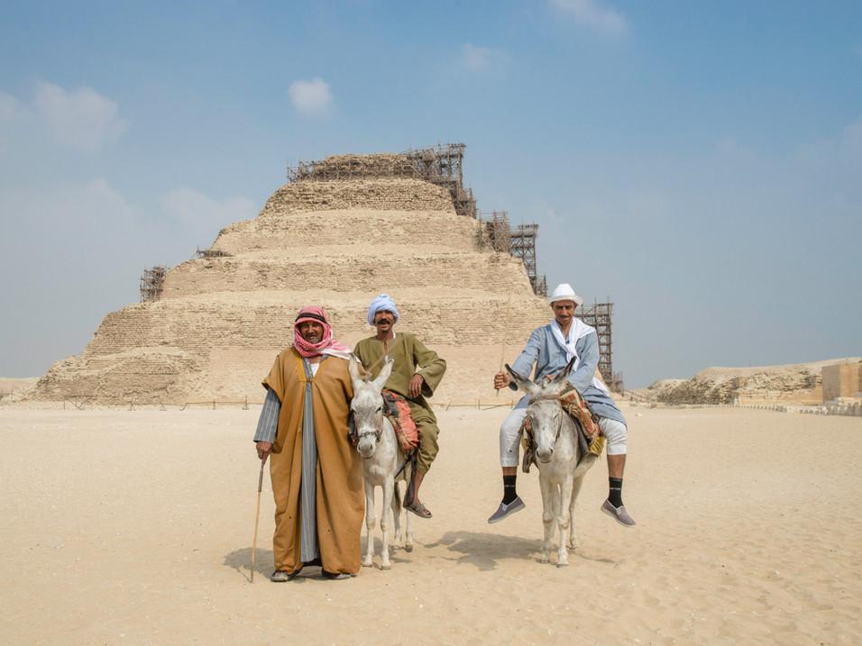 Donkey riders at the Egyptian Pyramids