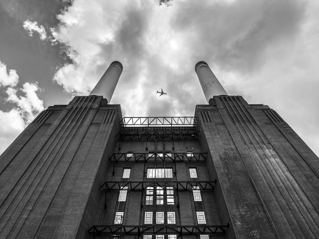 Plane over Battersea Power Station