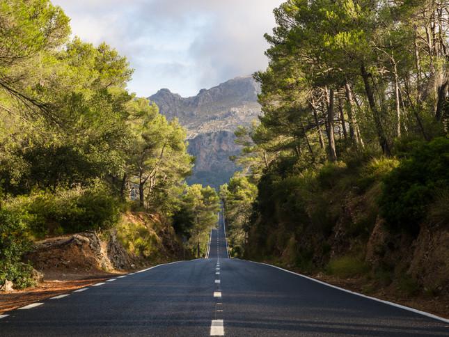 A road through the Majorcan countryside